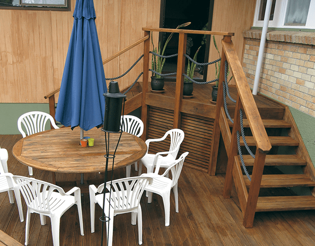 Exterior Wooden Stairs and Deck by Top Flyte Systems